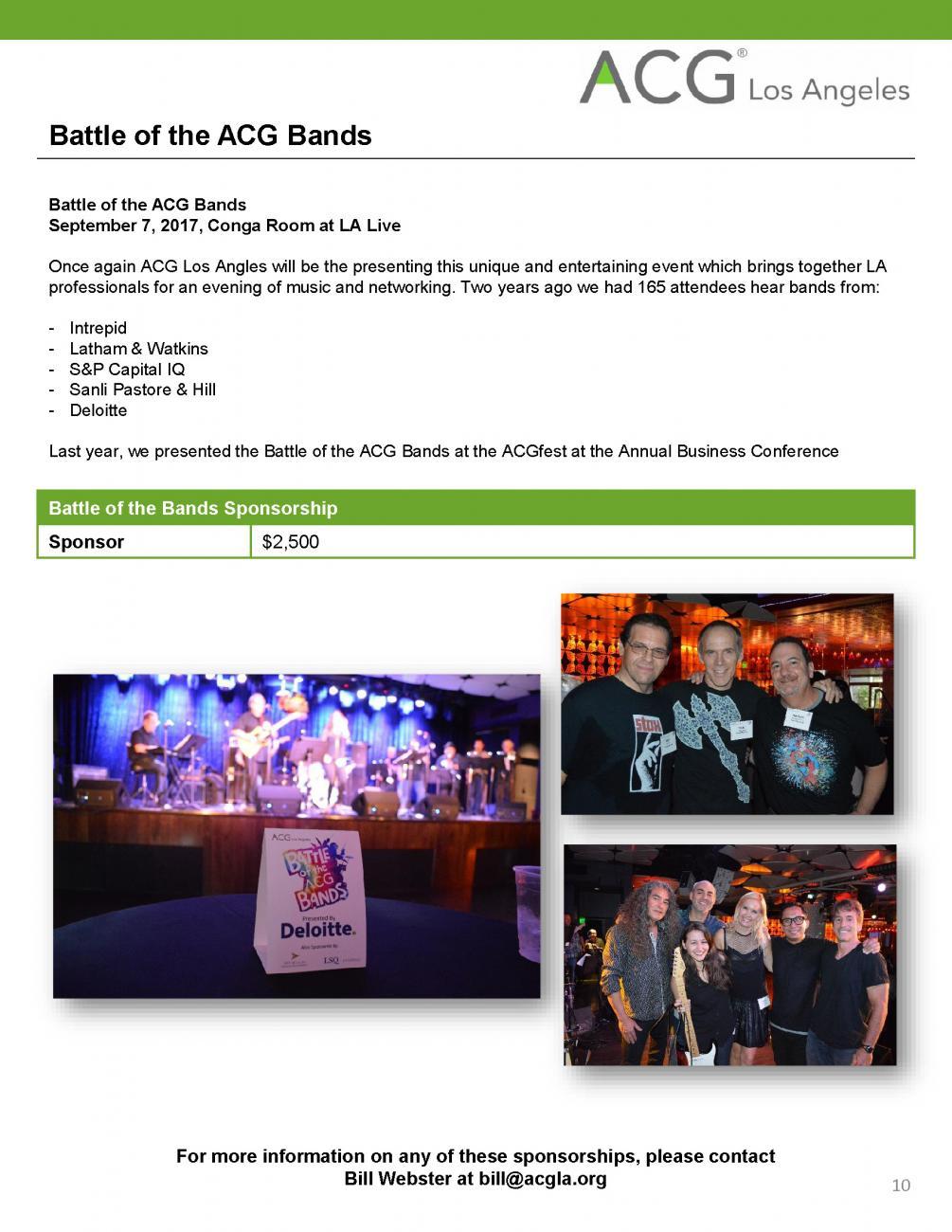 Sponsorship Opportunities | ACG Los Angeles